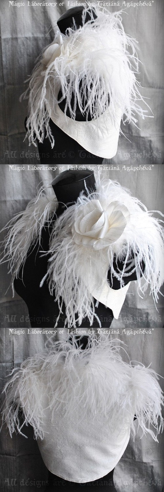 Wedding Shrug, Bolero Bridal Ostrich Dupioni Silk /BIRd Of PARADISe/ Handmade Silk Rose Brooch Satin Lined, Gatsby Style