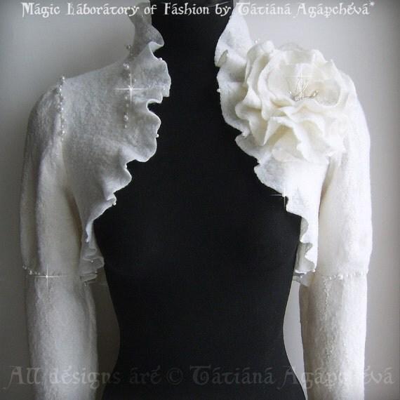 Long Sleeve Bolero, Shrug, Jacket Wedding Bridal Felted Brooch Swarovski Crystals, Freshwater Pearls  /Dancing on a Cloud/