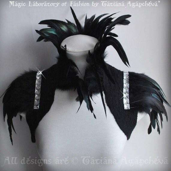 Bolero Goth Felted Black Chiffon Nuno Felted Coque Feathers Decadent Steampunk Empress Collar, Sleeves Rhinestones /COLETTE/