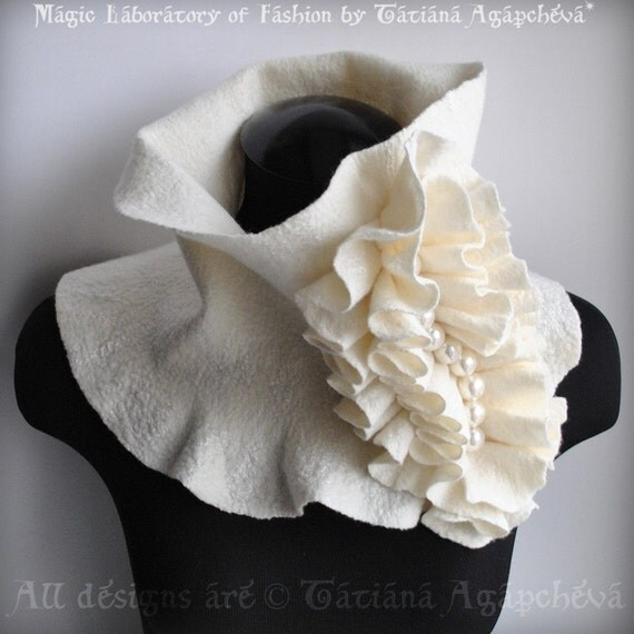 40% OFF Scarf, Cowl, Neckpiece, Ivory Felt Merino,Silk Huge, Frill Accent Huge Pearls Beaded /Beauty Parade/  Fashion Glamour