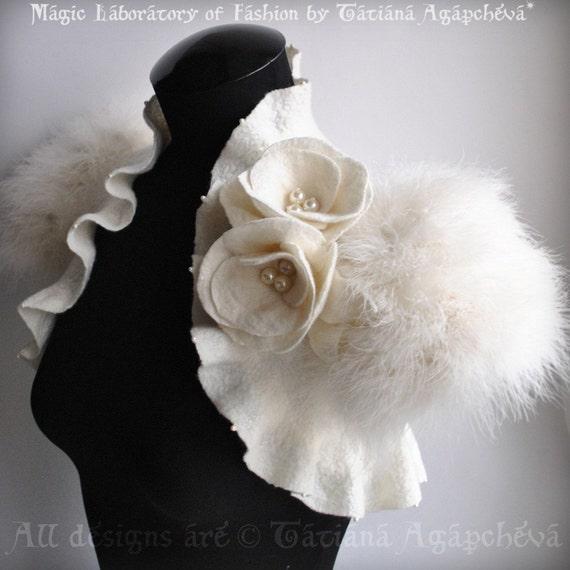 SWAN PRINCESS Wedding Shrug, Bolero, Jacket, Felt, Marabou Bridal Felted, Cap Sleeves, Roses,Brooch, Free Shipping
