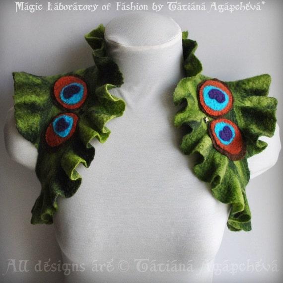 Peacock Felt Bolero, FREE SHIPPING, Jacket, Shrug, Green, Feathers Applique, Peacock Butterfly on Back 2014, US size 6, Romantic, Art Nouvea