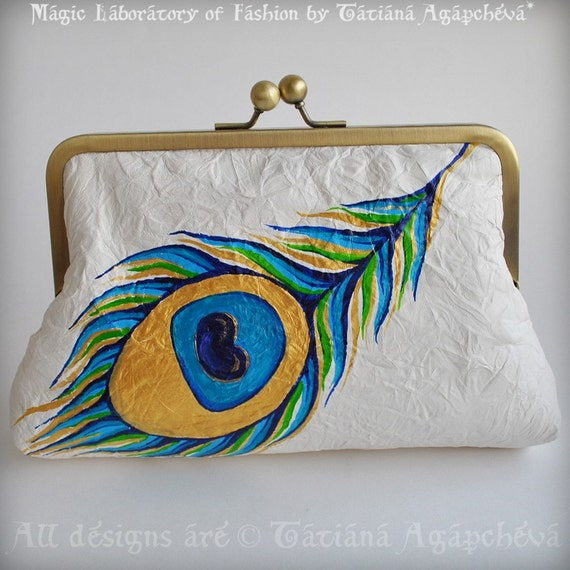 PEACOCK Leather Clutch, Purse, Bag, 50% OFF Genuine Italian Lambskin, Feather Hand Painted, Hand woven Dupioni Silk Lined by TianaCHE