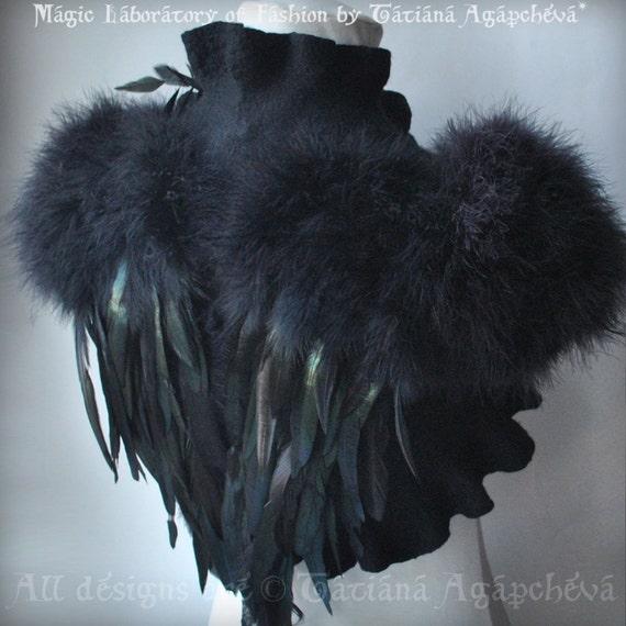 Bolero, Shrug Felted, SWAN LAKE, Goth Bridal, Feathers Wings, Black Felt Merino and Silk, Roses Corsage / Brooch, Marabou Sleeves30% Off
