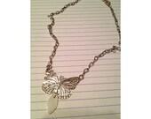 Metal Silvertone Butterfly Neckalce