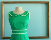 green dress with peter pan colar in Green or purple - SHEILA style - SALE was 159