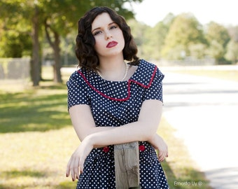 polka dot Dress asymmetrical collar  -   LISETTE style