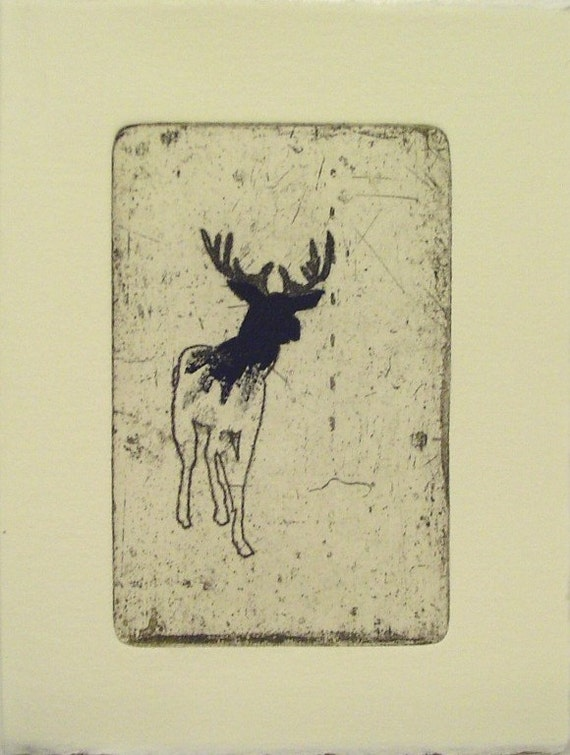 Small deer etching