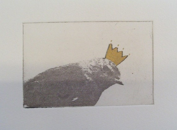 Original Etching of a bird with golden crown,hand pulled