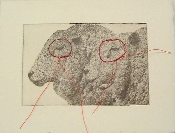 original etching of a sheep,hand pulled