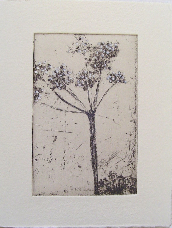 original etching of a flower,hand pulled