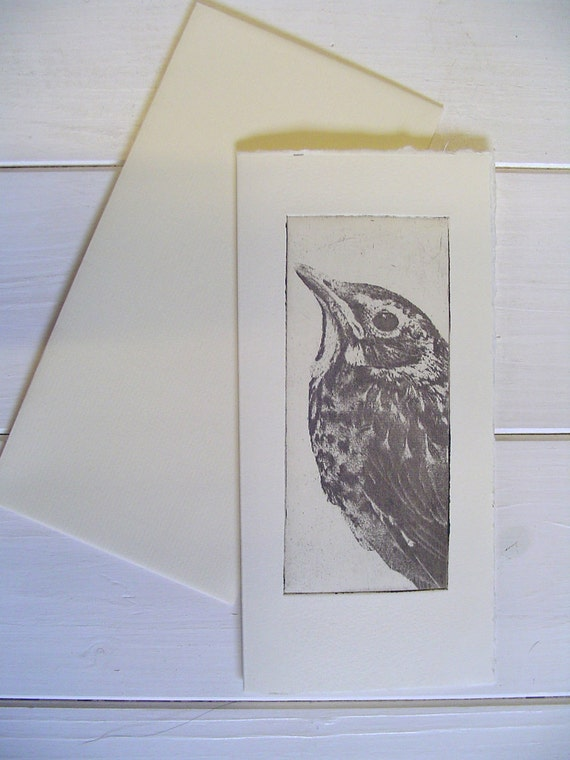 Original Etching of a bird,hand pulled