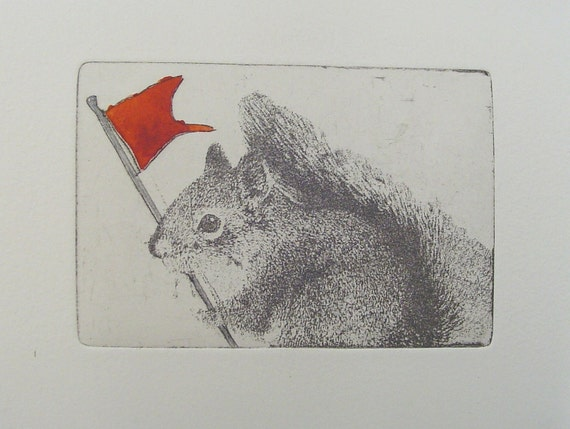 Original Etching of a squirrel with flag,hand pulled