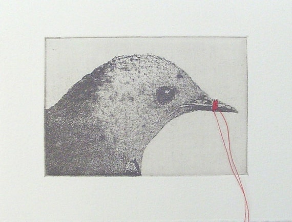 original etching of a bird head,hand pulled