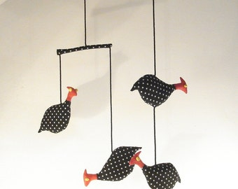 Guinea Fowl Mobile African bird baby room decor mobile