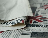 Artificial Leather Coated, Leica Cotton Fabric-Union Jack On Newspaper (Fat Quarter)