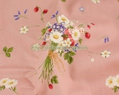 SALE CLEARANCE Chic Collection, Spring Daisy and Wild Strawberry Bouquet-Japanese Cotton Fabric (1/2 Yard)