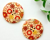 Wooden Buttons - Spring Flowers, Big (2 in a set)