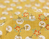 Floral Fan and Fireworks On Mustard Yellow-Japanese Traditional Cotton Fabric (Fat Quarter)