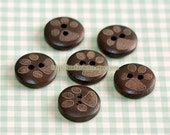 Reserved Wooden Buttons, Painted Color - Cute Paws (6 in a set)
