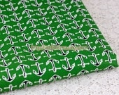 Reserved - SALE Clearance 1 Yard Nautical Marine, Ocean Love, Chic Black Sailing Anchors On Green-Japanese Cotton Fabric(1 Yard)