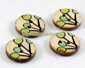 Natural Coconut Buttons - Retro Green Berry Fruits (4 in a set)