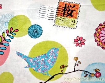 Love Of Nature, Birds, Colorful Flowers and Japanese Air Mail Stamp-Japanese Cotton Fabric (Fat Quarter)