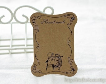 Kraft Cardboard Lace/Ribbon Organizer-Sewing Girl, Handmade (5 in a set)