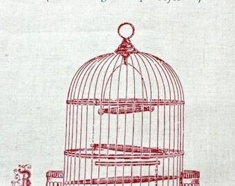 Unique Linen Collection-Antique Birdcage, Natural Bird (1 Panel, 17x55 inches)