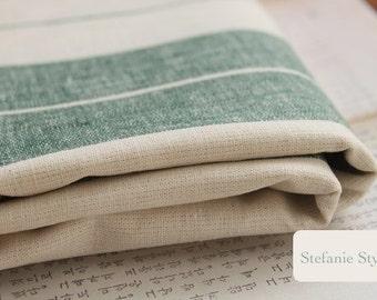 Stripe Collection, Retro Green Stripe Lines-Natural Pure Linen Fabric(Fat Quarter)