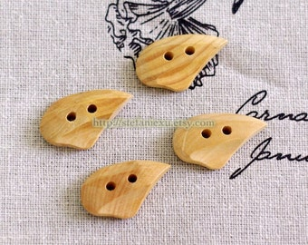 Natural Wooden Buttons - Smooth Touch, Special Shape Seeds  (4 in a set)