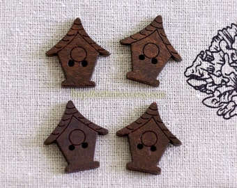 4PCS Wooden Buttons, Painted Color - Vintage Dark Color Birdhouse (4PCS)