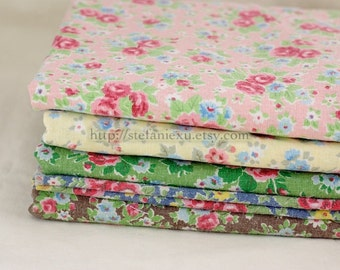 SALE Clearance 1/2 Yard Retro Looking Shabby Chic Roses-Water Washed Linen Cotton Blended Fabric