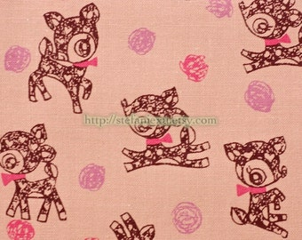 Fairy Tale Collection, Retro Pink Bambi-Japanese Cotton Fabric (Fat Quarter)