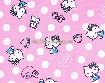 SALE Clearance Lovely Kitty, White Polka Dots On Pink - Cotton Fabric (Fat Quarter)