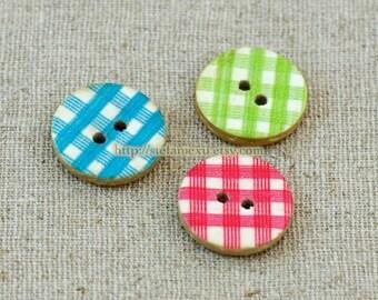 4PCS Natural Coconut Buttons - Retro RGB Gingham Buttons (4PCS, D=1.5cm)