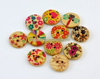 Wooden Buttons -Natural Collection, Small (B) (11 in a set)