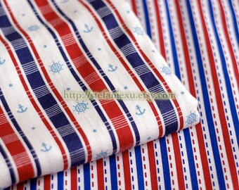SALE Clearance Nautical Marine, Anchor Rudder Stripe, Blue and Red Dotted Lines-Cotton Fabric (1/2 Yard)