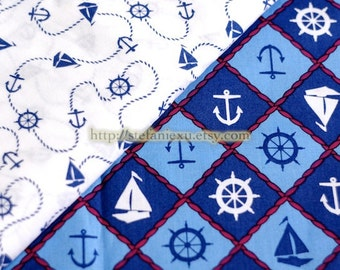 Nautical Marine, Sailing Anchor and Grid Patchwork - Cotton Fabric (Fat Quarter)