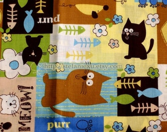 Zoology Collection, Kawaii Cat, Fish and Flowers-Cotton Fabric (1/2 Meter)