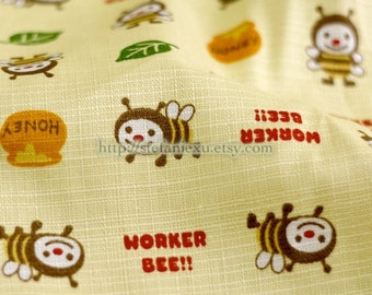 Cute Wee Bee, Honeypot On Yellow - Japanese Cotton Fabric (Fat Quarter)