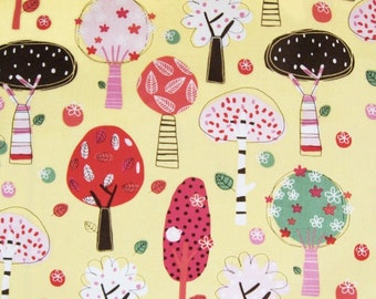 Love of Nature, Spring Patchwork Trees On Yellow - Cotton Fabric (Fat Quarter)