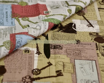 Unique Linen Collection-Retro Key, Feather and Poems (Dark Red) (Fat Quarter)