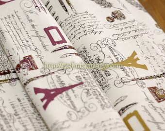 SALE Clearance Unique Linen Collection-Eiffel Tower, Retro Feather, Pen and Poems (1 Yard)