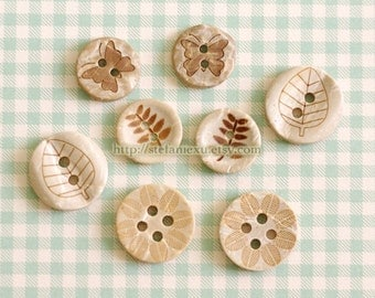 Natural Coconut Buttons - Leaves, Fern Plants and Butterfly Collection (8 in a set)
