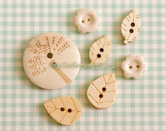 Wooden Buttons, Natural Color - Big Tree, Lovely Leaves and Tiny Flowers (7 in a set)