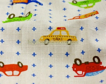 Kawaii Transportation Cars - Linen Cotton Blended Fabric (Fat Quarter)