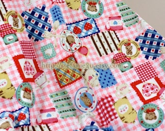 Country Teddy Hearts Patchwork - Flannel Fabric (1/2 Yard, 17.7x39.3 Inches)