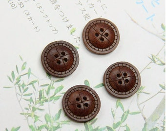 Unique Wooden Buttons - Retro Leather Looking Buttons, B (1.5CM,  4 in a set)