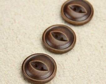 Wooden Buttons, Painted Color - Retro Eye Buttons (2.3CM,  4 in a set)